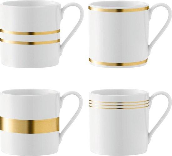 L.S.A. Deco Mok - 340 ml - Set van 4 Stuks - Wit porselein met gouden afwerking