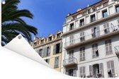 Franse architectuur in de straten van de Franse stad Nice Tuinposter 90x60 cm - Tuindoek / Buitencanvas / Schilderijen voor buiten (tuin decoratie)