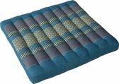 Thais Stoelkussen en Tuinkussen 52 x 52 cm Blauw/Grijs