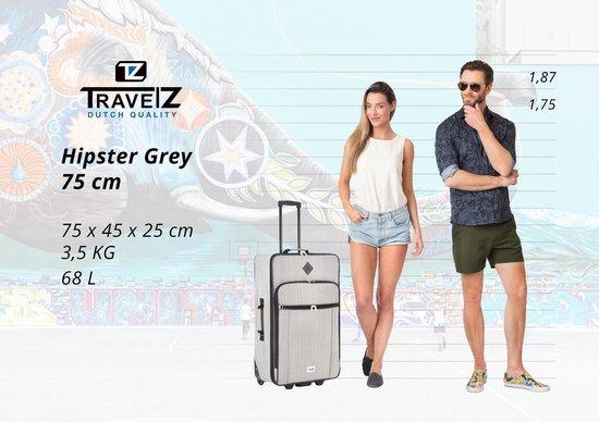 TravelZ Hipster Reiskoffer 75cm - Trolley met 2 wielen - 65 liter - Grijs - Travelz