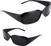 Rasterbril | gaatjesbril voor Oogtraining en gezichtsvermogen verbetering (Zwart)
