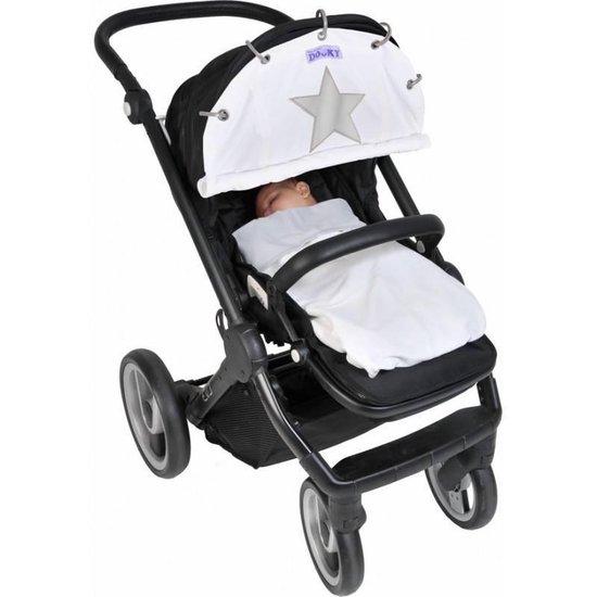 Dooky Winter Zonnescherm Kinderwagen - Crème met reflecterende ster