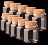 Glazen Pot Met Kurk Deksel - Kleine Lege Glas Decoratie Fles - 5 Potten - 50 Ml