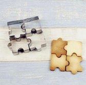 Puzzel Koek Vormpjes 4 Stuks – Fondant & Koekjes Vormen – Puzzelstukjes – Bakvorm – Bakset – Uitsteekvorm / Uitstekers – Cookie Cutter Set – RVS – EPIN 3D