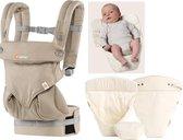 Ergobaby 360 Geboortepakket - Draagzak Baby inclusief Verkleinkussen Natural - Moonstone