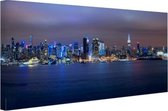 Skyline van New York City bij nacht Canvas 120x80 cm - Foto print op Canvas schilderij (Wanddecoratie woonkamer / slaapkamer) / Steden Canvas Schilderijen