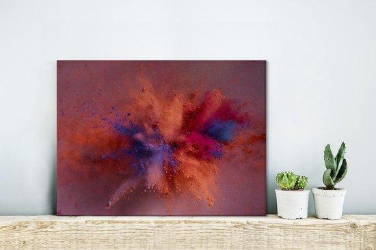 Kleurrijke poederpexplosie Canvas 40x30 cm - klein - Foto print op Canvas schilderij (Wanddecoratie woonkamer / slaapkamer)