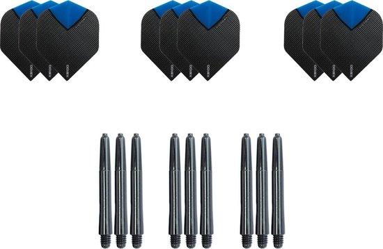 9 Skylight Aqua Super stevige - flights - plus 9 zwarte nylon - shafts -