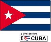 Cubaanse vlag met 2 gratis Cuba stickers