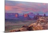 Zonsondergang vanaf Hunts Mesa op de Monument Valley in Amerika Aluminium 90x60 cm - Foto print op Aluminium (metaal wanddecoratie)