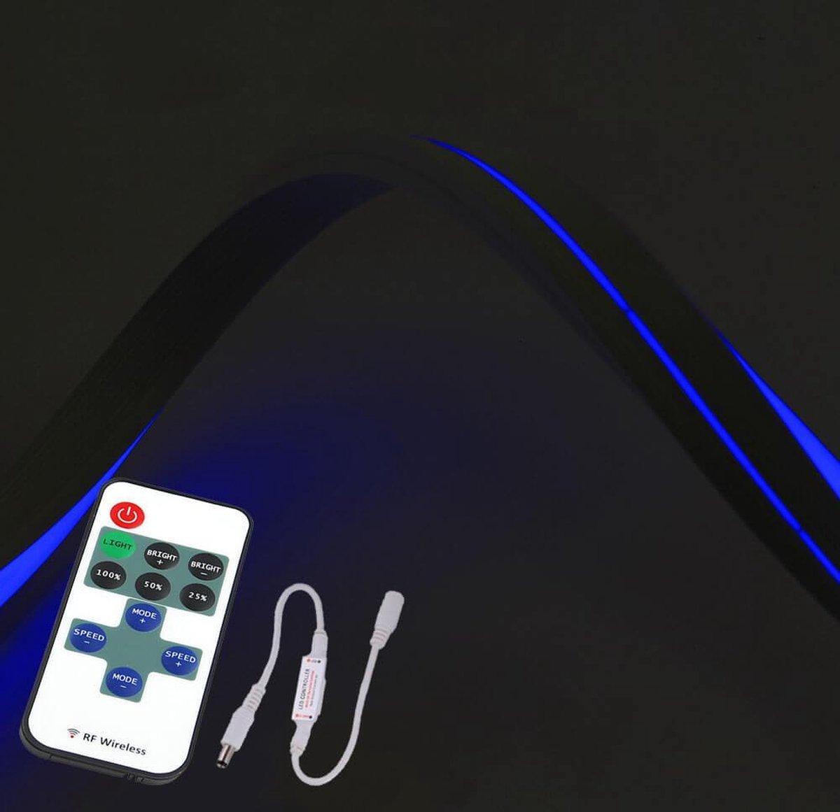 10 meter Neon LED flex Maxi recht - complete set Blauw
