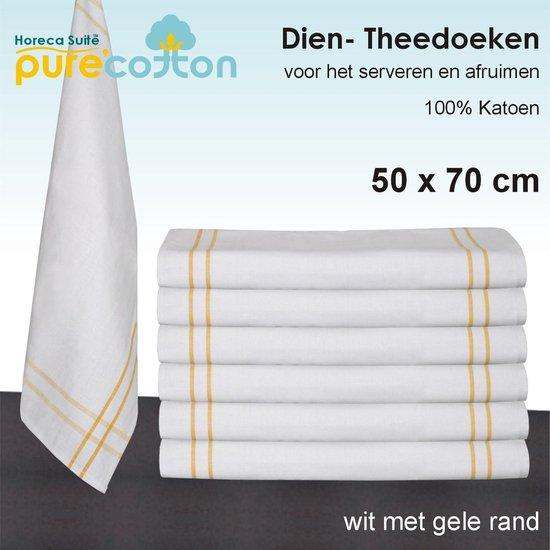 Diendoek / theedoek wit met gele rand