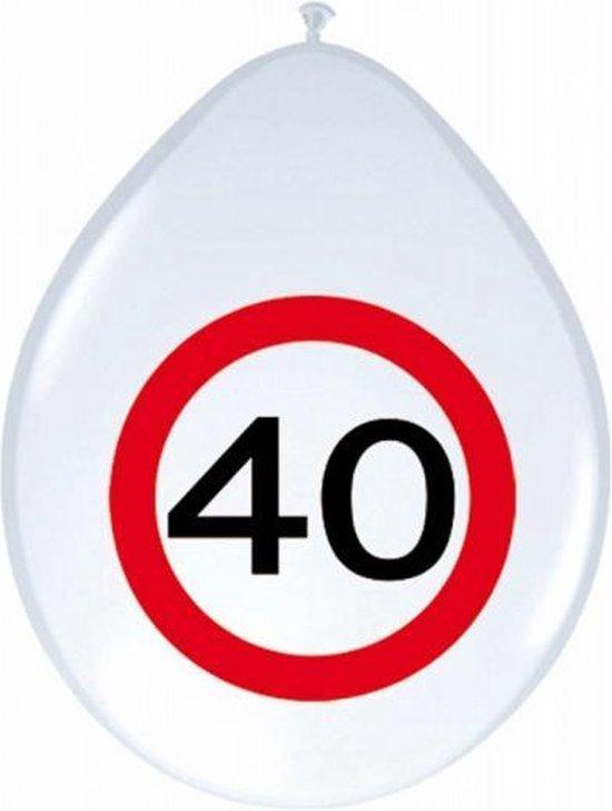 16x stuks Ballonnen 40 jaar verkeersbord spiegel