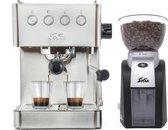 Solis Barista Gran Gusto 1014 Espressomachine + Scala Plus 1661 Koffiemolen - Piston Koffiemachine met Bonen - RVS