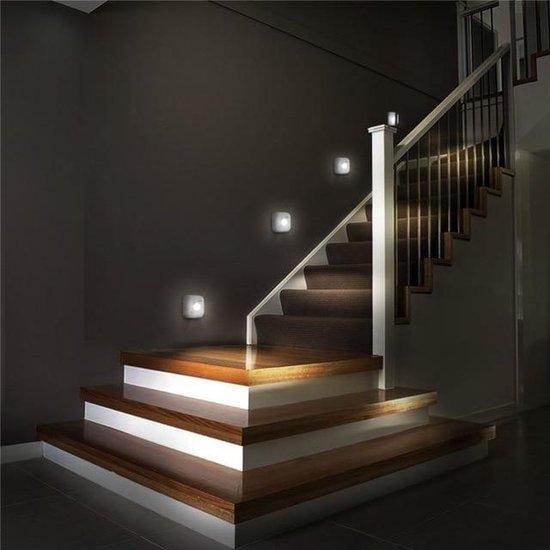 2 Stuks - Wit LED Sensor Nachtlampje Dual Induction PIR Infrarood Bewegingssensor Lamp Magnetisch Infrarood Wandlamp Kabinet Trap Licht LED Sensor Night Light