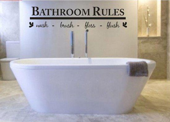 Bol Com Muursticker Bathroom Rules Zwart Decoratie Badkamer 13x58cm
