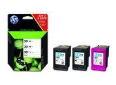 HP 301 - Inktcartridge / Zwart / Kleur / 3-Pack