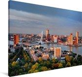 Rotterdam skyline met de Erasmusbrug Canvas 90x60 cm - Foto print op Canvas schilderij (Wanddecoratie woonkamer / slaapkamer) / Europese steden Canvas Schilderijen