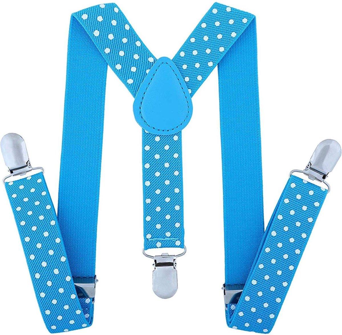 Fako Fashion® - Kinder Bretels - Stippen - 65cm - Lichtblauw