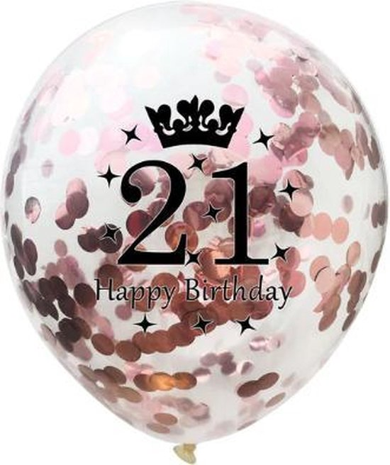 21 Jaar Ballonnen Set - Confetti - 5 stuks - Verjaardag Feest - Versiering - Metallic Rose - 30cm