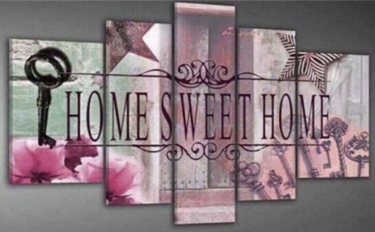 SEOS Shop ® Diamond Painting Pakket Home Sweet Home Roze - 5 Luik - Volledig - Diamond Paintings - Vierkant - Dotz