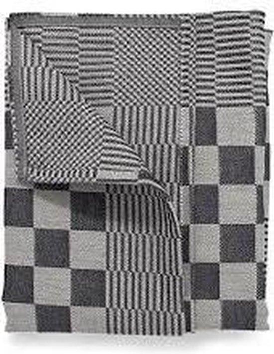 Theedoeken, 6 Stuks, Zwart en Wit Geblokt, 60x65cm, Treb Towels
