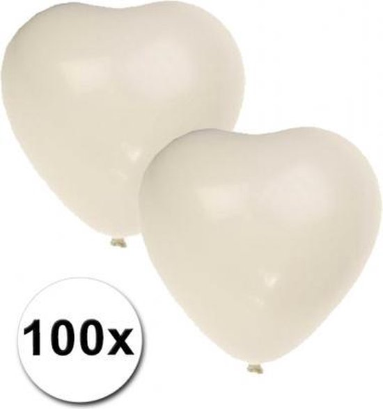 Hartjes ballonnen wit 100 stuks
