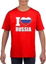 Rood I love Rusland fan shirt kinderen M (134-140)