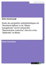 Etude des propriétés anthelminthiques de 'Boerhavia diffusa' et de 'Khaya senegalensis' sur les nématodes 'Haemonchus contortus' chez les ovins 'Djallonké' au Bénin
