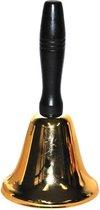 Kerstman bel / kerstbel zwart/goud 20 cm - Kerstmannen accessoires / woondecoraties