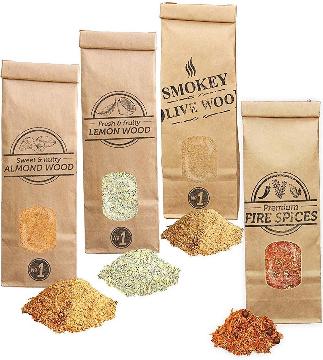 Smokey Olive Wood- 3X 300ml ROOKMOT Selectie + 300ml vuurkruiden, Olijfhout - Amandelhout - Citroenhout - Rookmeel fijn ø 0-1mm
