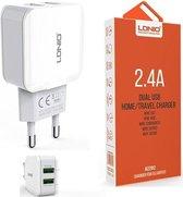 LDNIO A2202 oplader met 1 laadsnoer Type C USB Kabel geschikt voor o.a Samsung Galaxy A3 A5 2017 A8 A9 2018