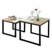 Set van 2 salontafels - natuurlook - metaal