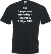 Mijncadeautje Unisex T-shirt zwart (maat L)  Mijn 7 gangen menu voor vandaag