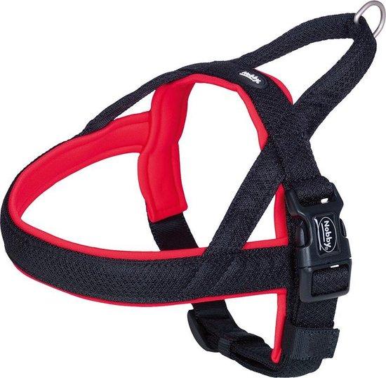 Nobby norwegian tuig mesh preno rood - M/L - buikband 50-64 cm + borstband 42 cm - breedte 25/35 mm