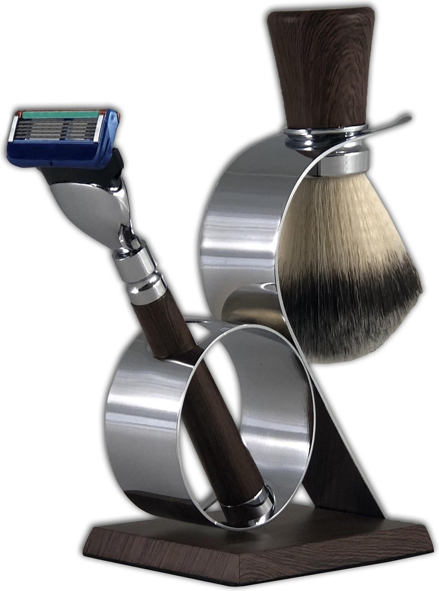 Luxe Fusion mach 5 met trimfunctie Scheerset Hout Synthetische scheerkwast - Gerard Brinard