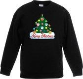 Zwarte kersttrui met dierenvriendjes kerstboom voor jongens en meisjes - Kersttruien kind 12-13 jaar (152/164)