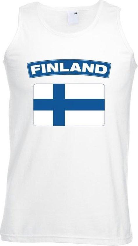 Singlet shirt/ tanktop Finse vlag wit heren 2XL