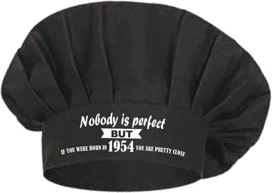 Mijncadeautje - Koksmuts - zwart - Nobody is perfect - opdruk wit - geboortejaar 1954