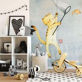 Fotobehang Loske Kat met Ballon - 144x260 cm - topkwaliteit vliesbehang - Kinderkamer Behang