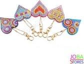 "Diamond Painting ""JobaStores®"" Sleutelhanger Set Harten (5 stuks)"