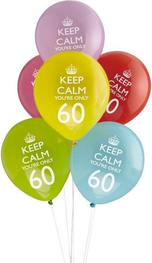 Neviti Keep Calm Party - 60th verjaardag ballon assorti - Set-8