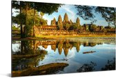 Het buitenaanzicht van Angkor Wat Aluminium 180x120 cm - Foto print op Aluminium (metaal wanddecoratie) XXL / Groot formaat!