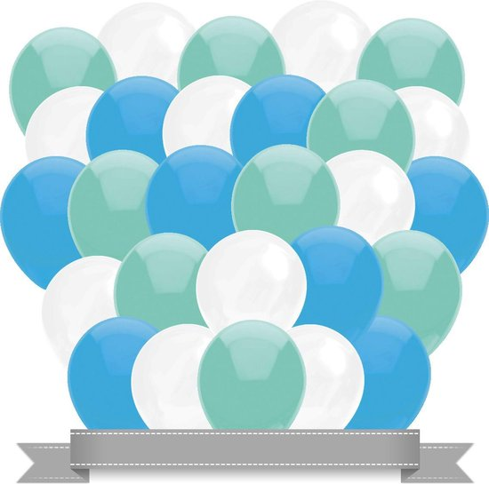 Ballonnen Baby Blauw / Wit / Mint (30ST)