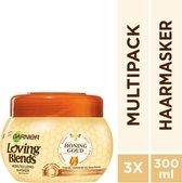 Garnier Loving Blends Honing Goud Herstellend Masker - 3 x 300 ml - Voordeelverpakking - Beschadigd of Breekbaar haar