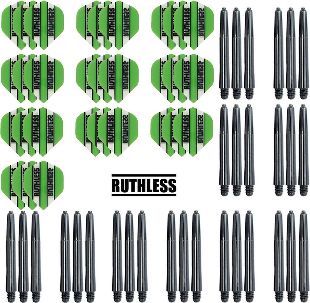 Dragon darts - 10 Sets Ruthless Flights - darts flights - Groen - plus 10 sets Dragon - darts shafts - medium