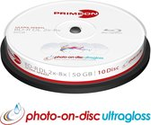 Primeon BD-R DL 50GB/2-8x Cakebox (10 Disc) GLOSSY WATERPROOF Printable