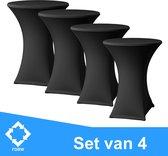 Statafelrok Luxe set van 4  - Stretch - 80x110 cm - Zwart