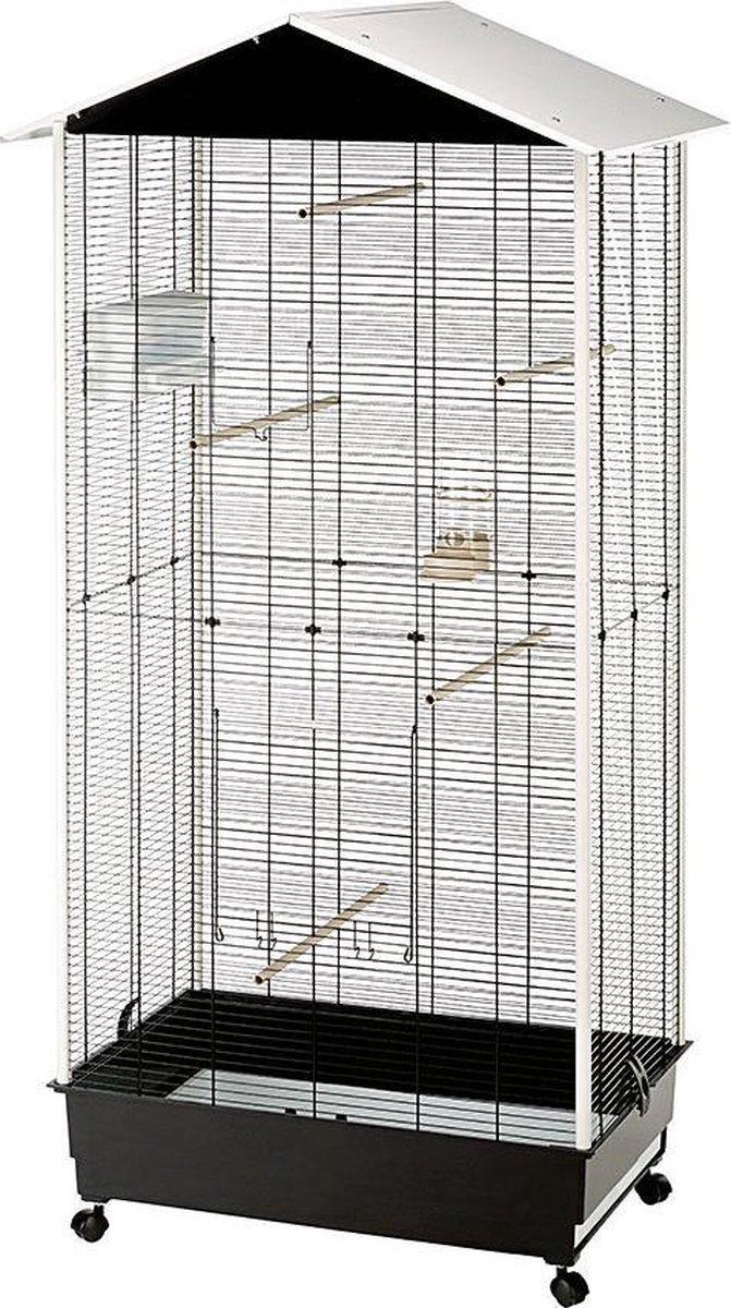 Ferplast Vogelkooi Voliere Nota - Wit/Zwart - 76.5 x 57 x 161.5 cm