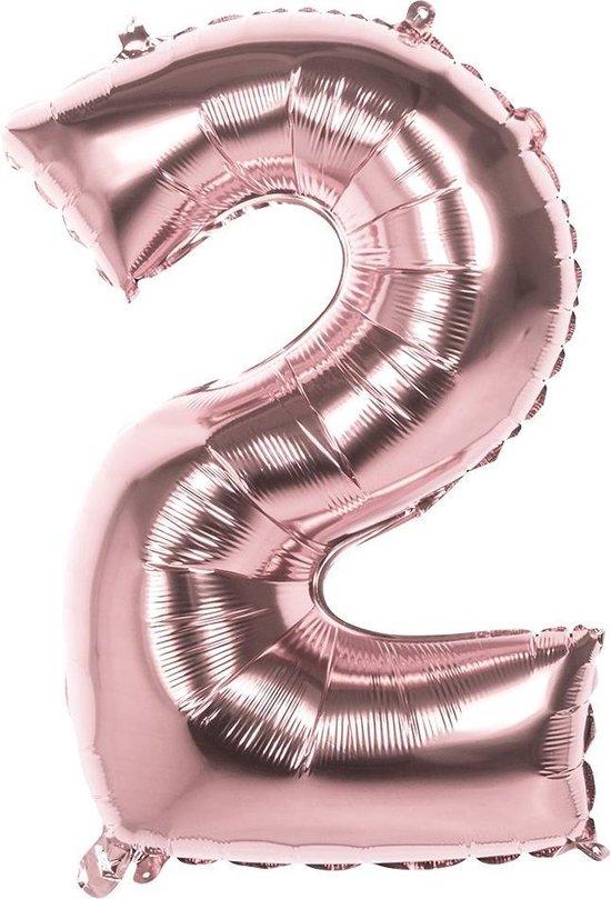 Boland Ballon Cijfer 2 Rosé Goud 36 Cm